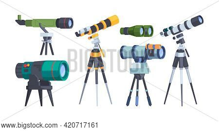 Optical Equipment. Binoculars Telescope Looking To The Future Since Night Instruments For Exploring