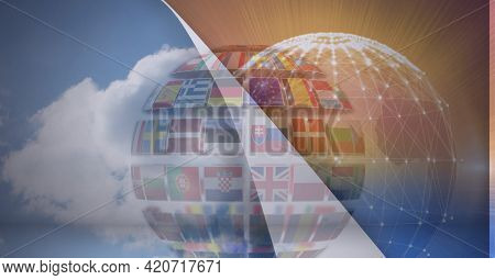 Animation of layer with sky revealing globe with national flags and network of connections. global business and networking concept digitally generated image.