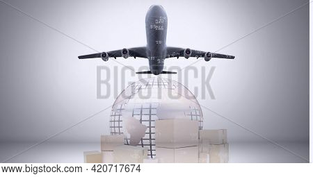 Animation of airplane, cardboard boxes and globe. global shipping, business travel and networking concept digitally generated image.