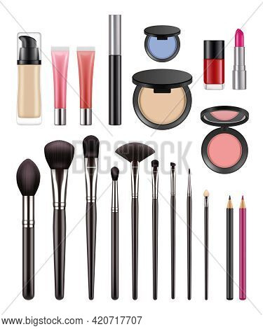 Makeup Items. Brushes For Beauty Womans Eyeshadows Lipstick Powder For Luxury Girls Decent Vector Ma