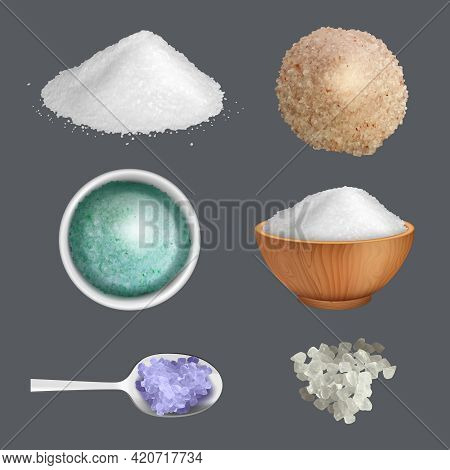Salt Realistic. Product Ingredients For Cuisine Gourmet Kitchen Items For Preparing Food Decent Vect
