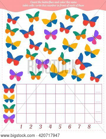 A Game For Children. Count The Number Of Butterflies, Fill In The Same Number Of Cells In The Table,