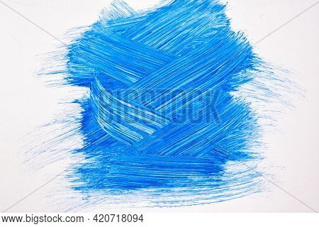 Abstract Art Background Navy Blue And White Colors. Watercolor Painting On Canvas With Dark Turquois