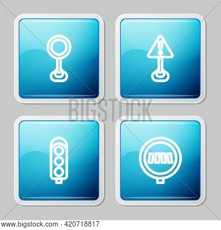 Set Line Road Traffic Sign, Exclamation Mark In Triangle, Traffic Light And Pedestrian Crosswalk Ico