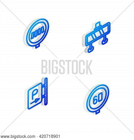 Set Isometric Line Road Barrier, Pedestrian Crosswalk, Parking And Speed Limit Traffic Icon. Vector