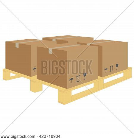 Vector Of Cardboard On Wooden Pallet In Warehouse. Package Of Carton On Pallet In Logistic Storehous