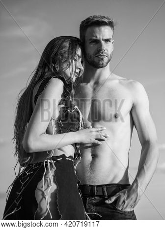 I Love You. Sexy Couple In Love. Tribal Fashion. Woman In Suede Leather Clothes. Handsome Man With B