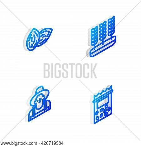 Set Isometric Line Wheat, Seed, Farmer In The Hat And Pack Full Of Seeds Of Plant Icon. Vector