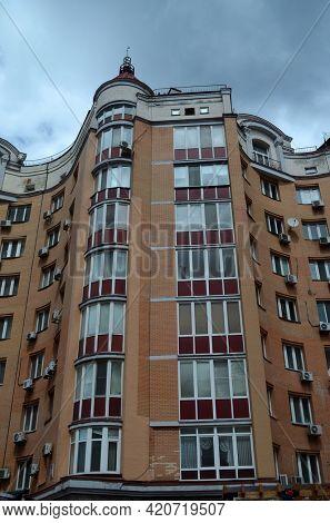 Modern residential area in Kiev. Exterior.Streets,buildings,detales. May 6,2021. Kiev , Ukraine