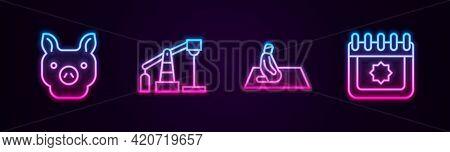 Set Line Pig, Oil Pump Or Pump Jack, Muslim Man Prays And Ramadan Calendar. Glowing Neon Icon. Vecto