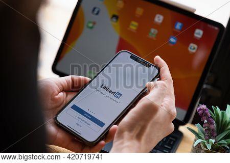Chiang Mai, Thailand: May 14, 2021 : Linkedin Logo On Phone Screen. Linkedin Is A Social Network For