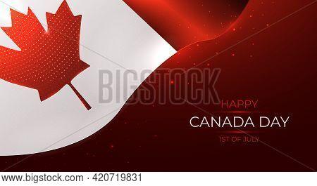 Happy Canada Day Modern Vector Illustration, Waving Canada Flag, National Day Greeting Card, Holiday