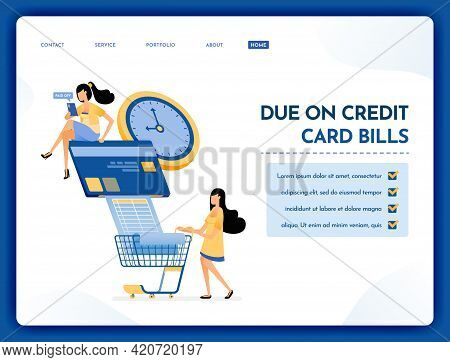 Landing Page Illustration Of Due On Credit Card Bills People Pay Their Credit Card Bills And Monthly