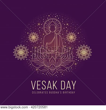 Vesak Day - Abstract Line The Lord Buddha Meditated On Lotus Sign And Around With Lotus Flower And D