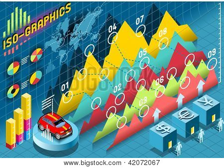 Isometric Infographic  Histogram Set Elements With Car