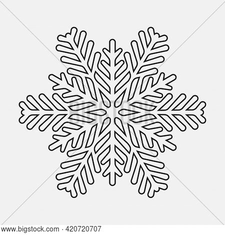 Silhouette Of Snowflake. Icon To Print. Black And White Abstract Drawing. Graphic Design Element. Ve
