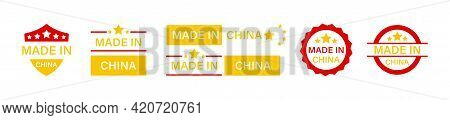 Made In China Vector Icons Set. Made In China Labels Collection. China Production Signs, Emblems And