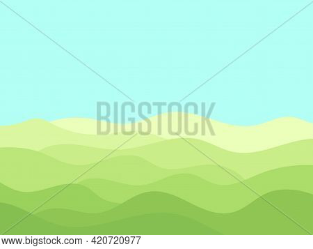 Natural Landscape In A Minimalistic Style. Plains And Mountains, Fields And Meadows. Typographic Boh