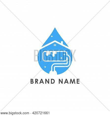Home Paint Clean Droplet Logo Design Vector