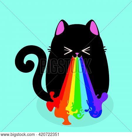 Black Cat Throw Up Rainbow