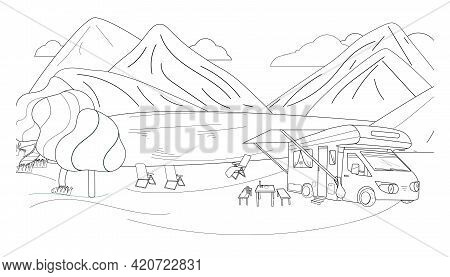 Coloring Of Camping In The Mountains On The Shore Of A Lake, River. Motorhome With Awning, Sun Beds,