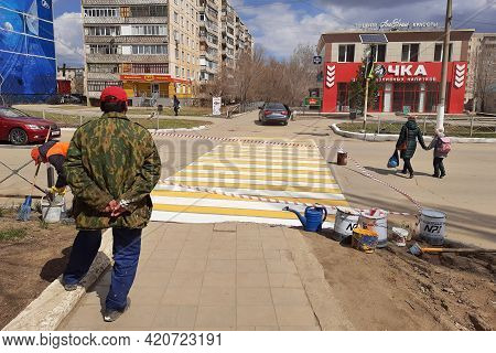 Orenburg, Russia - April 29, 2021. Painting Of A Pedestrian Crossing. Editorial Painting Of A Pedest