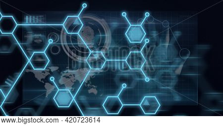 Composition of network of chemical compounds and scope scanning over world map. global science, research, connection, technology and digital interface concept digitally generated image.