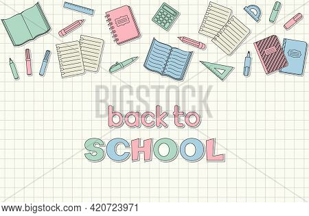 Back To School Hand Lettering, Colorful School Supplies And Office Stationary Stickers And Patches O