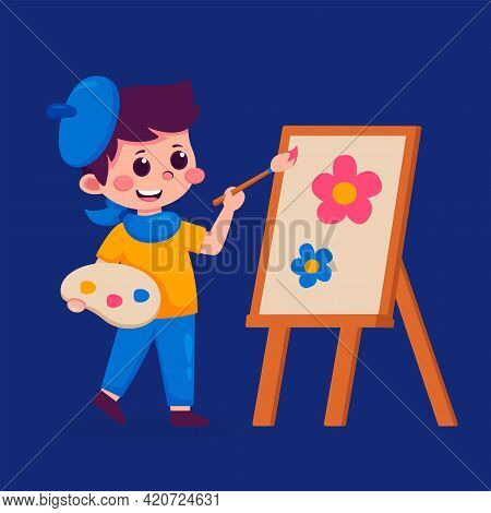 Little Boy Painting Picture On Easel, Kids Hobby Or Creative Activity Vector Illustration