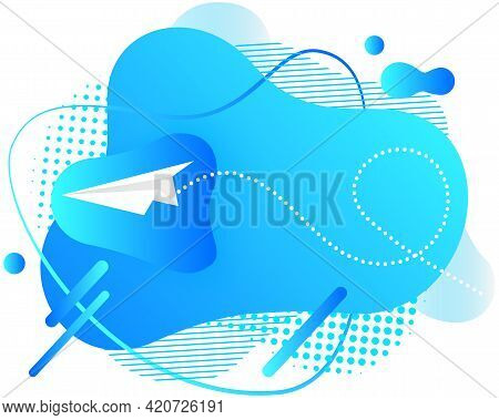 Abstract Background With Paper Airplane In Blue Sky With Geometric Lines And Shapes. Pattern Design