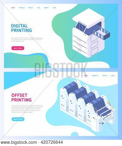 Set Of Illustrations On Theme Of Printing. Isometric Factory Printer. Photocopier Isolated On Dark B