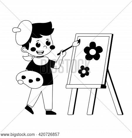 Black And White Little Boy Painting Picture On Easel, Kids Hobby Or Creative Activity Vector Illustr