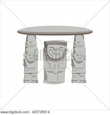 Ancient Statues In Archeological Park In San Agustin, Colombia Vector Illustration