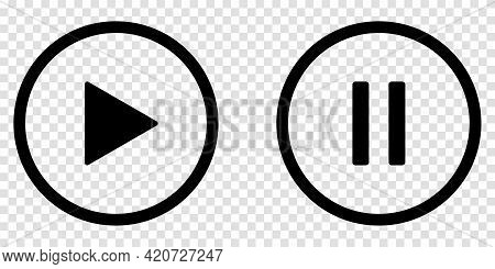 Play And Pause Black Buttons. Line Art Style. Vector Icons Isolated On Transparent Background