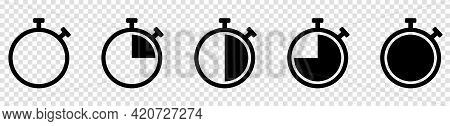 Set Of Timer Or Stopwatch Icons. Symbol Timer Isolated On Transparent Background