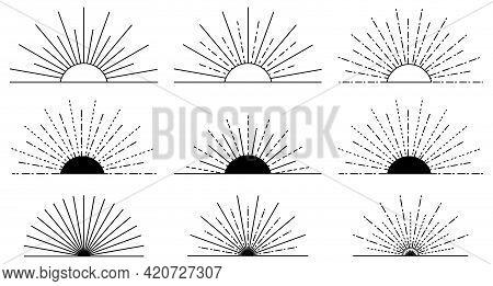 Sunburst Set. Big Black Collection Sunburst Best Quality. Design For Logo, Tag, Stamp, T Shirt, Bann