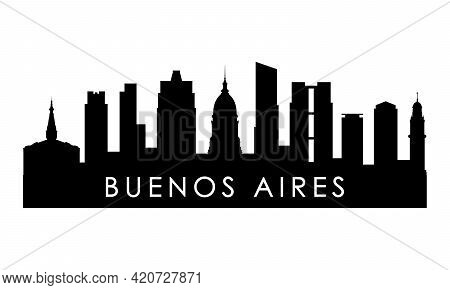 Buenos Aires Skyline Silhouette. Black Buenos Aires City Design Isolated On White Background.