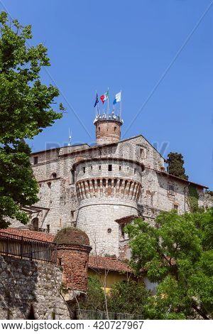 Medieval Castle In The Town Of Brescia, Lombardy, Italy (vertical Photo)