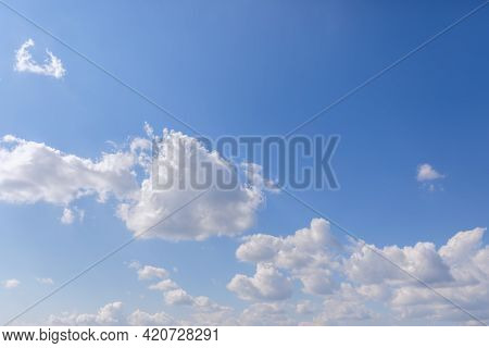 Morning Fresh Blue Sky With White Clouds With Sunlight From Left (perspective To The Horizon)