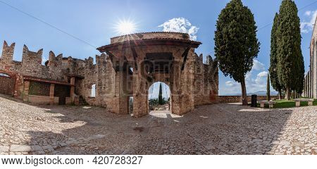 Panoramic View Of Medieval Gate With Drawbridges At The Entrance To The Castle Of Brescia. Lombardy,