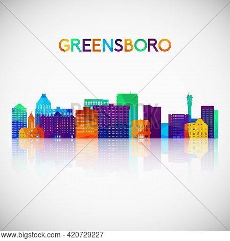 Greensboro Skyline Silhouette In Colorful Geometric Style. Symbol For Your Design. Vector Illustrati
