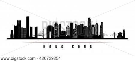 Hong Kong Skyline Horizontal Banner. Black And White Silhouette Of Hong Kong, China. Vector Template