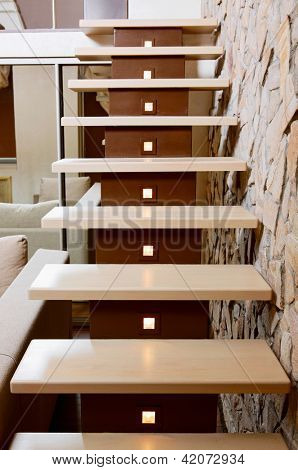 Modern style staircase and ashlar wall, interior detail poster
