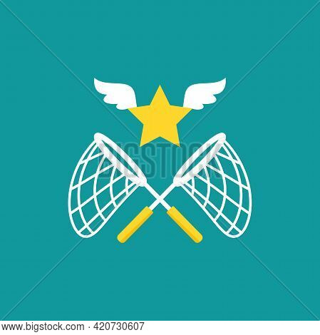Two Crossed Butterfly Nets With Star. Catch, Hunt, Chase Dream Symbol. Vector Illustration Isolated