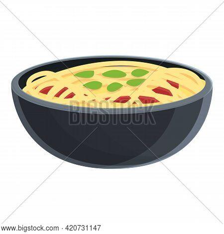 Korean Noodles Icon. Cartoon Of Korean Noodles Vector Icon For Web Design Isolated On White Backgrou