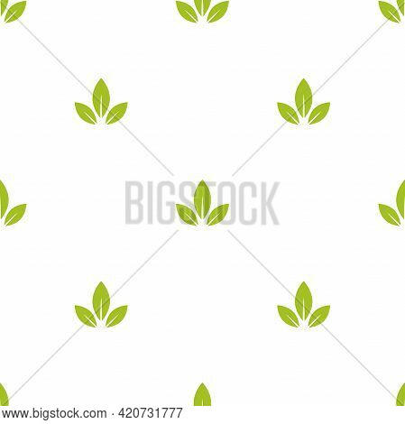 Seamless Floral Pattern. Green Leaves Texture On White Background. Flat Silhouette Simple Ornament.