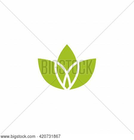 Five Green Sprouts, Sprigs, Raw With Silhouette Leaf. Icon Isolated On White. Logo For Eco Company,