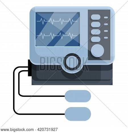 Electric Defibrillator Icon. Cartoon Of Electric Defibrillator Vector Icon For Web Design Isolated O