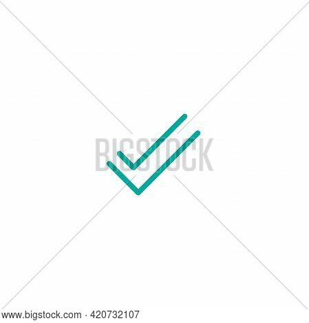 Valid Seal Icon. Blue Tick Made Of Thread Or Line. Flat Ok Sticker Icon. Isolated On White. Accept B