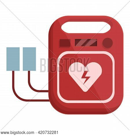 Cardiac Defibrillator Icon. Cartoon Of Cardiac Defibrillator Vector Icon For Web Design Isolated On